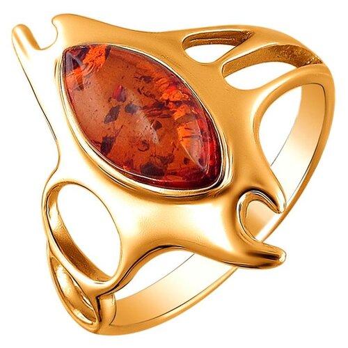 Эстет Кольцо с 1 янтарем из серебра с позолотой 51К450244П, размер 18.5 ЭСТЕТ