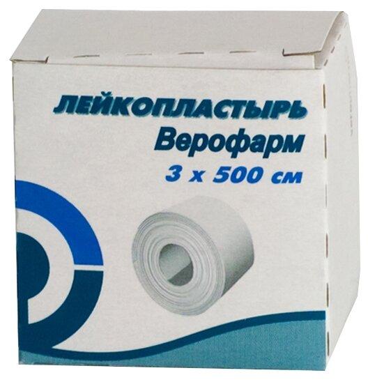 ВЕРОФАРМ лейкопластырь фиксирующий (картонная упаковка) 3х500 см