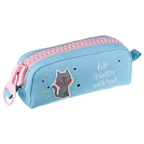 Купить Berlingo Пенал мягкий Cat (PM07223) голубой/розовый, Пеналы