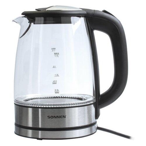 Чайник SONNEN KT-1788, черный/серебристый