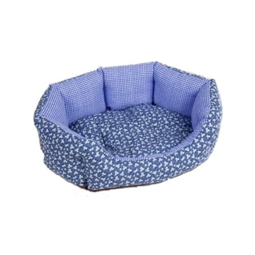 Лежак для собак и кошек Зоо Фортуна Манчестер Ромашка №2 61х48х17 см голубой