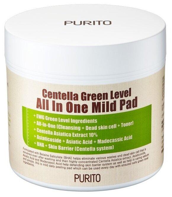 Purito Пэды для очищения кожи Centella Green Level All In One Mild Pad — купить по выгодной цене на Яндекс.Маркете