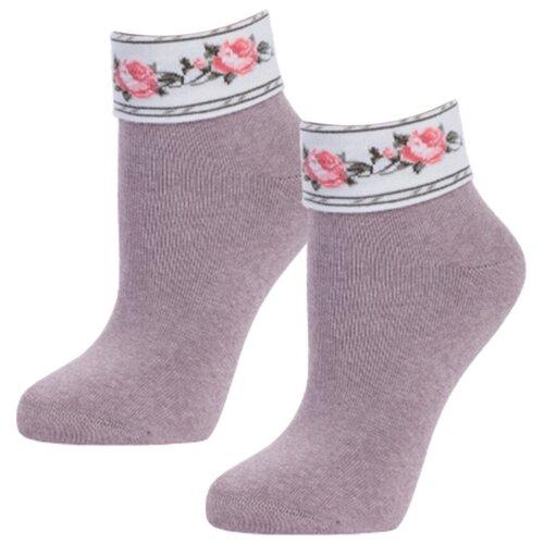 Женские бежевые теплые мягкие носки с рисунком на отвороте