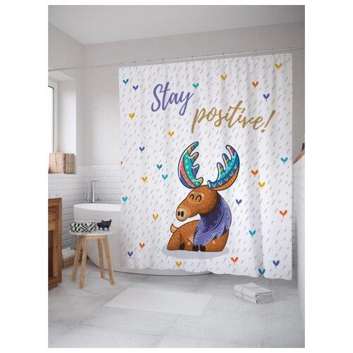 Штора для ванной JoyArty Будь позитивным 180х200 (sc-23363) разноцветный