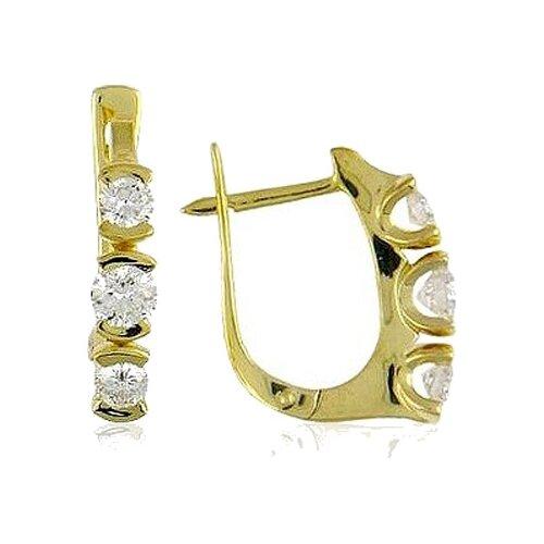 Эстет Серьги с 6 бриллиантами из жёлтого золота 750 пробы 01С643926 ЭСТЕТ