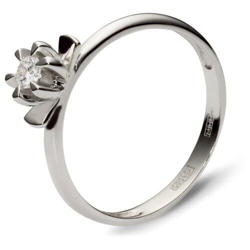 Эстет Кольцо с 1 бриллиантом из белого золота 01К625184, размер 19 фото