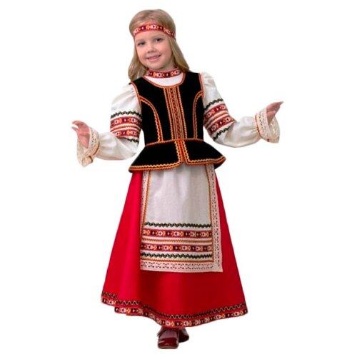 Купить Костюм Батик славянский для девочки (5602), красный/белый, размер 140, Карнавальные костюмы
