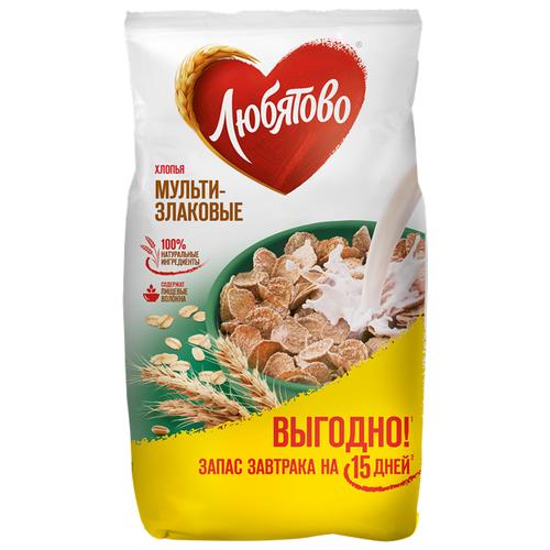 Готовый завтрак Любятово Хлопья мультизлаковые, пакет, 450 г