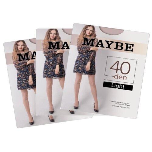 Колготки MAYBE Light 40 den, размер 8, телесный (бежевый), 3 пары колготки maybe 9 months 40 den размер 2 телесный