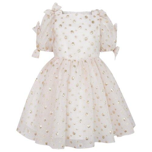 Платье David Charles размер 92, кремовый/горошек