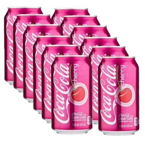 Газированный напиток Coca Cola Cherry, США, 0.355 л, 12 шт. газированный напиток coca cola vanilla сша 0 355 л 12 шт