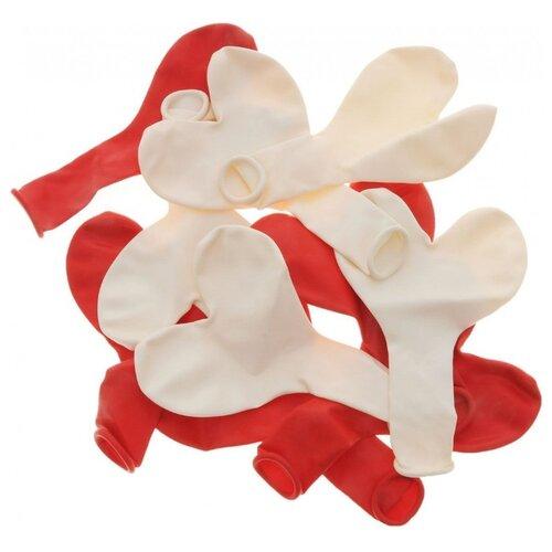 Набор воздушных шаров Action! Сердечки однотонные (10 шт.) красный/белый