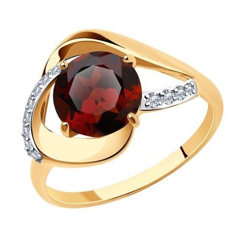 Diamant Кольцо из золота с гранатом и фианитами 51-310-00922-1, размер 18 diamant кольцо из золота с топазом и фианитами 51 310 00292 1 размер 18