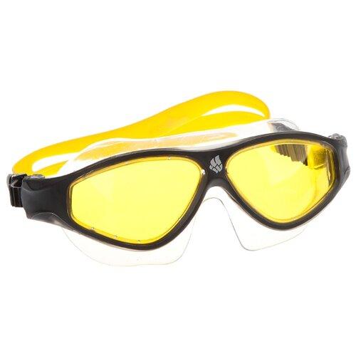 Очки-маска для плавания MAD WAVE Flame Mask yellow/black очки для плавания mad wave triathlon azure clear black