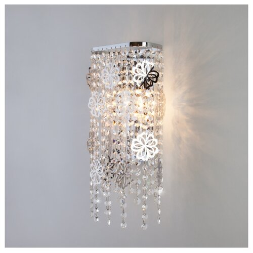 Настенный светильник Eurosvet Flower 10083/2 хром/прозрачный хрусталь Strotskis, 120 Вт накладной светильник eurosvet 7077 2 хром