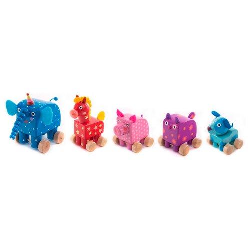 Купить Каталка-игрушка Деревяшки Набор деревянных фигурок (19WFT06A) розовый/красный/голубой/синий/фиолетовый, Каталки и качалки