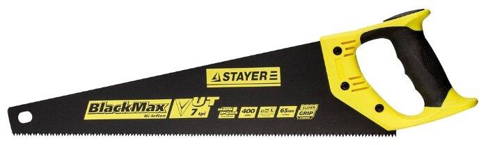Ножовка универсальная (пила) STAYER BlackMAX 400 мм, 7TPI, тефлон покрытие, рез вдоль и поперек волокон, для средних заготовок, фанеры, ДСП, МДФ (арт. 2-15081-40)