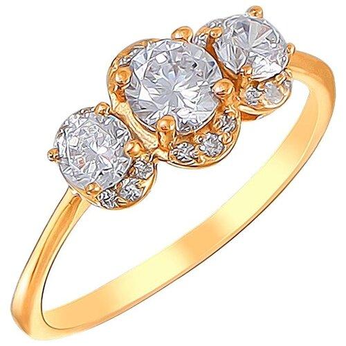 Эстет Кольцо с 21 фианитом из серебра с позолотой 01К1510415А, размер 20 эстет кольцо с амазонитом и фианитом из серебра с позолотой с15к451461п размер 21
