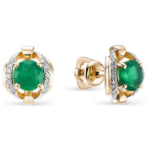 АЛЬКОР Серьги с агатами и бриллиантами из красного золота 22597-131