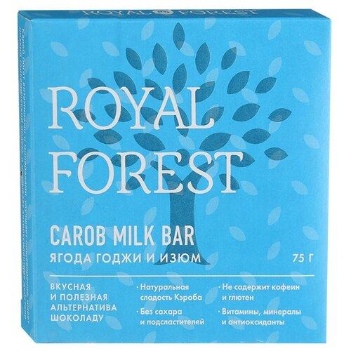 Шоколад ROYAL FOREST Carob Milk Bar молочный из кэроба с ягодой годжи и изюмом, 75 г фото