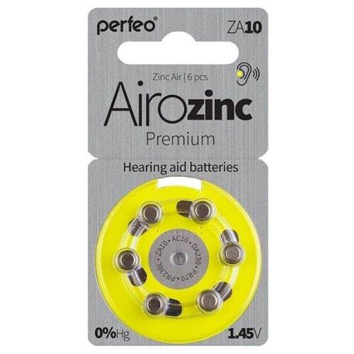 Фото - Батарейки для слуховых аппаратов ZA10 воздушно-цинковая Perfeo ZA10/6BL Zinc Air 6 шт контактные линзы alcon air optix aqua 6 шт r 8 6 d 01 00