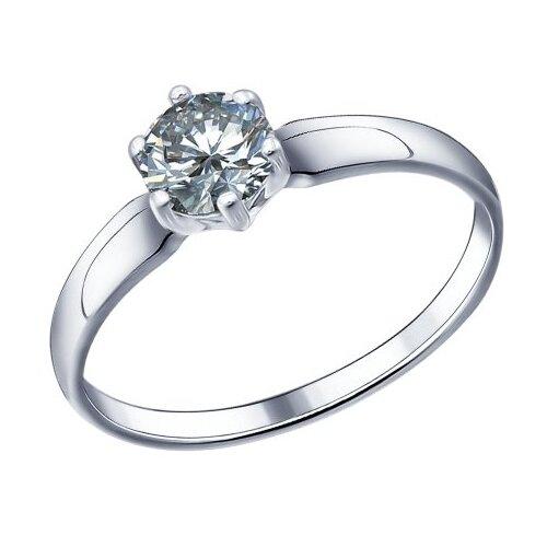 SOKOLOV Помолвочное кольцо из серебра с фианитом 89010001, размер 18.5 фото