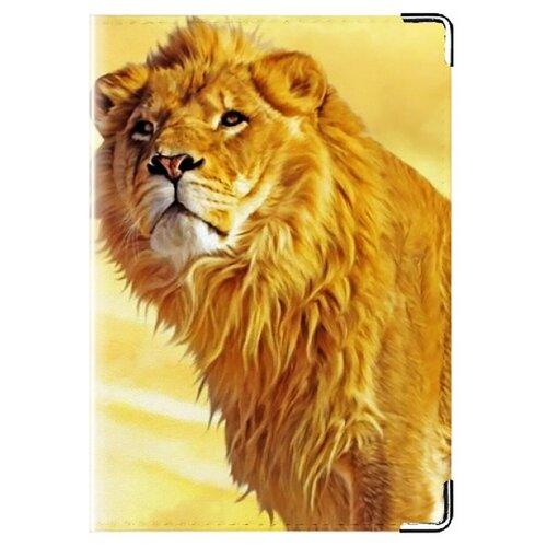 Обложка для паспорта MADAPRINT Лев в песках 100% натуральная овечья кожа