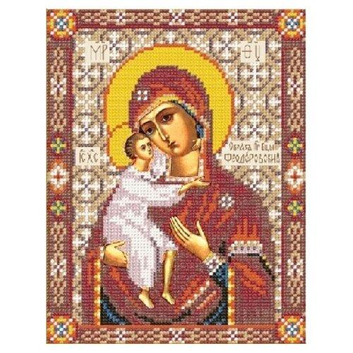Купить Канва для вышивания с рисунком NOVA SLOBODA Богородица Феодоровская БИС-9049, красный/бежевый/желтый 19 х 24 см