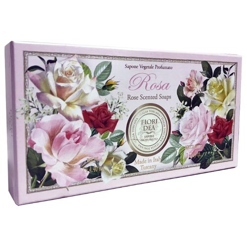 Мыло кусковое Fiori Dea Rose Scented Soap, 125 г, 2 шт.