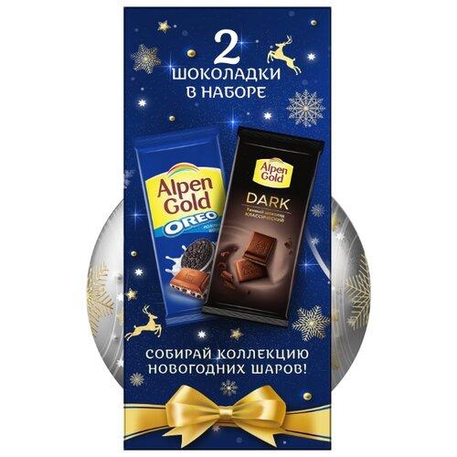 Шоколад Alpen Gold темный + Oreo молочный со вкусом ванили и кусочками печенья + елочный шар, 180 г (2 шт.)