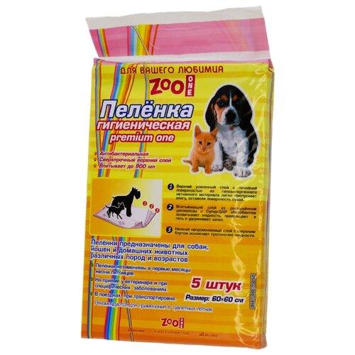 Пеленки для собак впитывающие ZooOne Premium One 60х60 см 5 шт. пеленки для щенков многоразовые впитывающие zooone 6040m 60х40 см бордовый