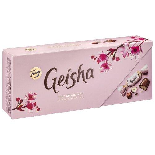 Набор конфет Fazer Geisha из молочного шоколада с нежной начинкой из орехового пралине из фундука 270 г розовый karl fazer молочный шоколад вкус мяты и драже из молочного шоколада 130 г