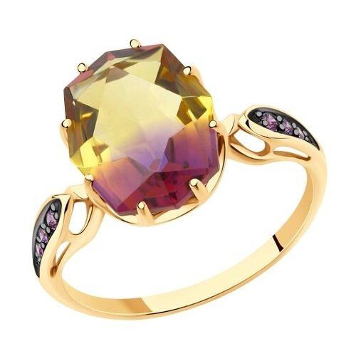 SOKOLOV Кольцо из золота с ситаллом аметрин и фианитами 715718, размер 18