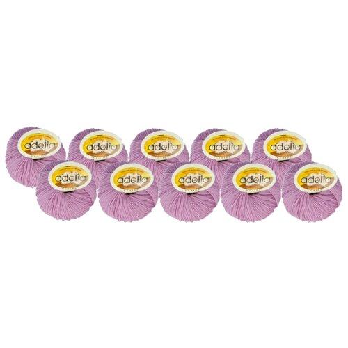 Купить Пряжа Adelia Claire, 50 % шерсть, 50 % акрил, 50 г, 138 м, 10 шт., №208 сиреневый