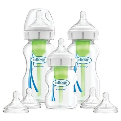 Купить Dr. Brown's Подарочный набор антиколиковых бутылочек с широким горлышком Options+ 2 х 270 мл, 1 х 150 мл с 3 мес., прозрачный, Бутылочки и ниблеры