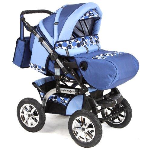 Коляска-трансформер Marimex Fabio синий/голубой принт коляска трансформер marimex bemix pcl синий голубой люлька надувные колеса