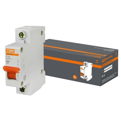 Автоматический выключатель TDM ЕLECTRIC ВА 47-63 1Р (C) 4,5kA 16 А выключатель автоматический однополюсный 6а c 4 5ka ва 47 63 ekf proxima