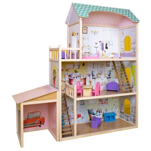 Купить SunnyWoods кукольный домик Алина с гаражом, розовый, Кукольные домики