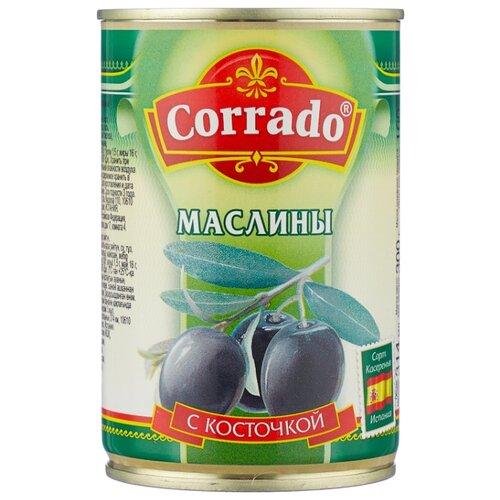 Corrado Маслины с косточкой в рассоле, жестяная банка 300 г corrado маслины крупные отборные без косточки 300 г