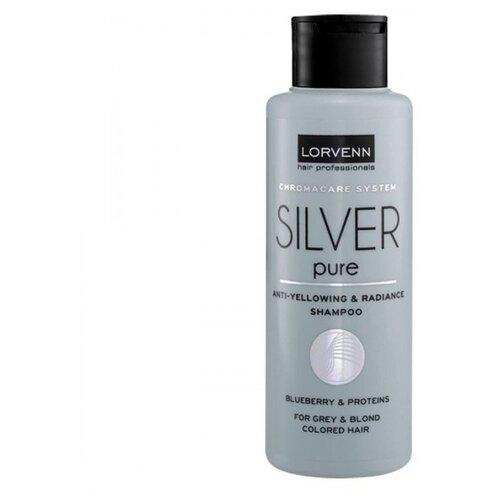 Купить LORVENN шампунь Silver Pure Anti-Yellow & Radiance для для седых, блондинистых, окрашенных и осветленных волос 100 мл