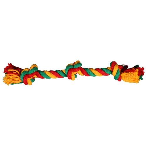 Канат для собак Joy Веревка 3 узла (2РУА00107) красный / зеленый / желтый