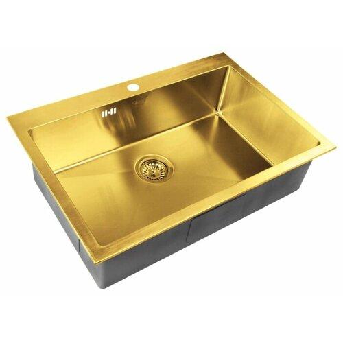 Фото - Врезная кухонная мойка 75 см ZorG PVD SZR-7551 BRONZE бронза врезная кухонная мойка 78 см zorg szr 78 2 51 r bronze бронза