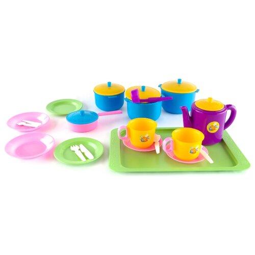 Набор посуды Пластмастер Обед 21056 голубой/зеленый/розовый набор посуды kidkraft делюкс 63319 голубой зеленый розовый