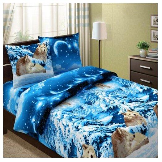 Постельное белье 1.5-спальное Традиция 1101 Волки бязь синий