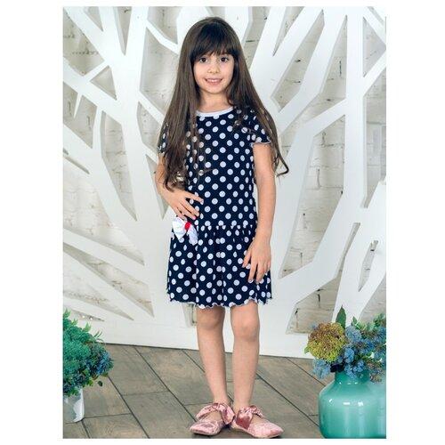 Платье Дашенька размер 80, горох/темно-синий