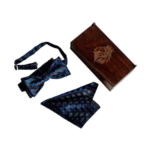 Комплект из 2 предметов Valderice галстук-бабочка и платок VLD2390 темно-синий