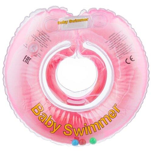 Купить Круг на шею Baby Swimmer Флора 0m+ (6-36 кг) с погремушкой розовый бутон, Круги на шею