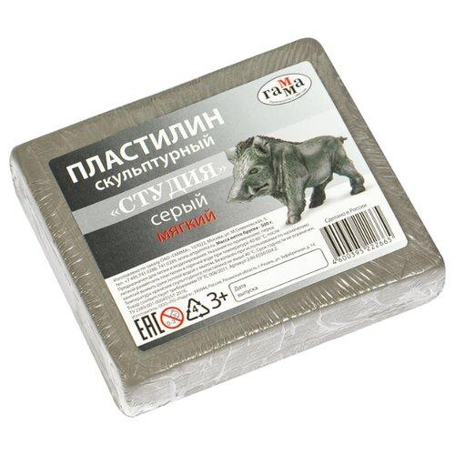 Купить Пластилин ГАММА Студия мягкий серый 500 г (2.80.Е050.004.2), Пластилин и масса для лепки