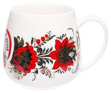 Великоросс Кружка Золотая пора 570 мл белый, красные цветы