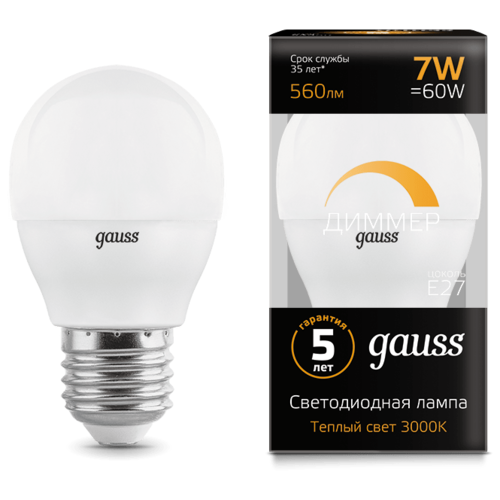 Лампа светодиодная gauss 105102107-D, E27, G45, 7Вт лампа светодиодная gauss 105802205 d e27 g45 5вт
